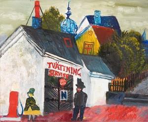 Vid Tvättinrättningen, Motiv Från Hagalund by Olle OLSSON HAGALUND