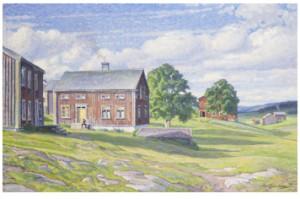 Sommarlandskap Med Norrländsk Bondgård by Carl JOHANSSON