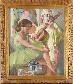 Gitarrspelande Clown Och Flicka I Grön Klänning by Philippe De ROUGEMONT