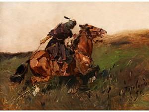 Kaukasischer Reiter In Hügeliger Landschaft by Franz Alexeivich ROUBAUD