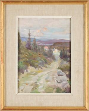 Bergslandskap Med Hus by Percy BIGLAND
