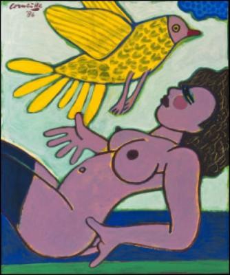 Flickan Och Fågeln by Cornelis Guillaum Corneille Van 'Corneille' BEVERLOO