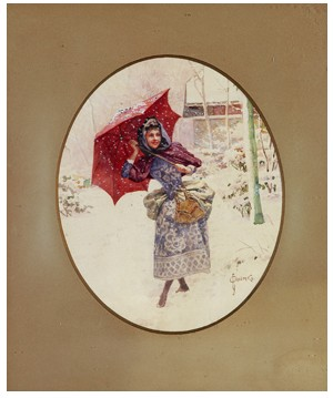 Young Lady Walking Through The Snow by Sergei Sergeievich SOLOMKO