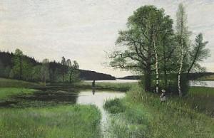 Sommarlandskap Med Promenerande Flicka by Oscar TÖRNÅ