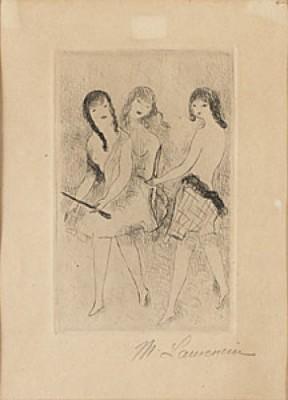 Trois Filles Jouant à L'arc by Marie LAURENCIN
