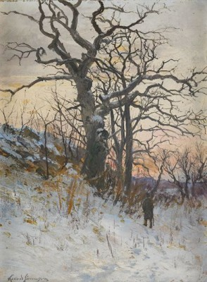 Den Gamla Eken - Vinterlandskap I Aftonrodnad by Konrad SIMONSSON