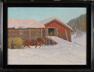 Vinterlandskap Hästdragen Släde, by Oscar LYCKE