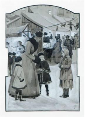Julmarknad - Bokillustration by Jenny NYSTRÖM