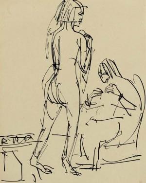 Stehender Und Sitzender Akte Im Atelier by Ernst Ludwig KIRCHNER