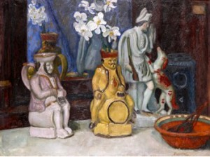Still Life With Ceramics And Narcissi by Sergei Yurievich SUDEIKIN
