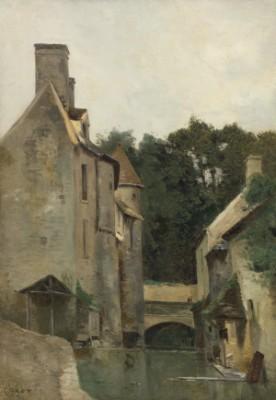 Ile-de-france, Lavandière Au Moulin by Jean Baptiste Camille COROT