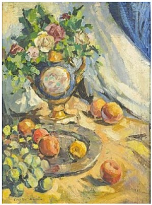 Still Life With Fruits And Flowers by Konstantin Alexeievich KOROVIN