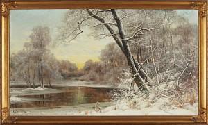 Vinterlandskap I Skymning by Arvid Mauritz LINDSTRÖM