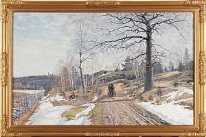 Vårvinterlandskap Med Hästskjuts by Carl JOHANSSON
