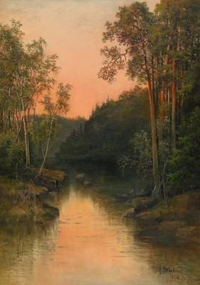 Skogslandskap Med Vattendrag - Aftonljus by Josefina HOLMLUND