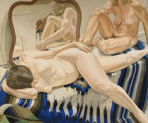 Two Female Models On Mexican Blanket With Mirror by Philip PEARLSTEIN