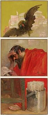 Grekisk Filosof. Triptyk, Bestående Av Tre Ursprungliga Dörrspeglar by Carl LARSSON
