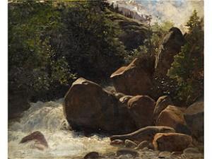 Felsige Berglandschaft Mit Einem Gebirgsbach Zwischen Grossen Felsbrocken by Albert Henri John GOS