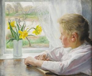 Flicka Vid Fönster by Fanny BRATE