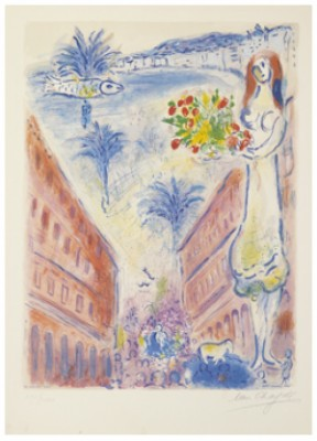 After By Charles Sorlier. Avenue De La Victoire à Nice. Plate Vi From Nice Et La Côte D'azur by Marc CHAGALL