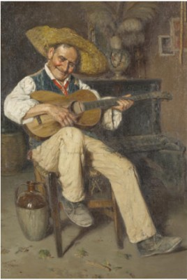 A Musician In An Interior; A Guitar Player (a Pair) by Giuseppe GIARDIELLO
