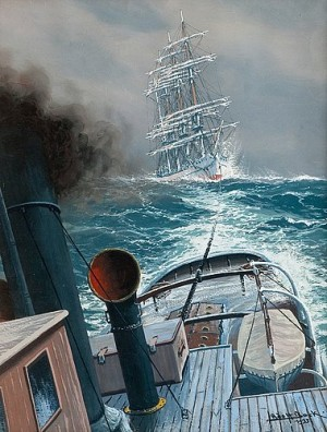 Towing On Stormy Sea by Adolf BOCK