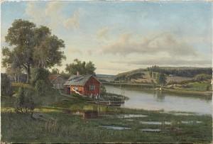 Insjölandskap Med Stuga by Carl August FAHLGREN