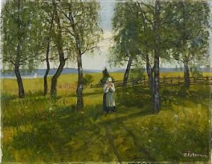 Flicka I Sommarhage by Emil ÖSTERMAN
