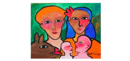 Familj Med Hund by Ulrica HYDMAN-VALLIEN