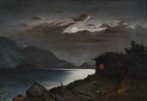 Sjölandskap I Månsken by Ester ALMQVIST