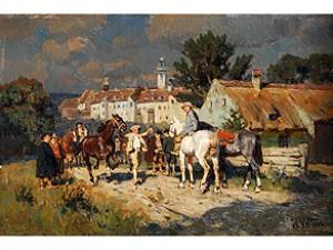Pferdemarkt Vor Einer Kleinstadt by Wilhelm VELTEN