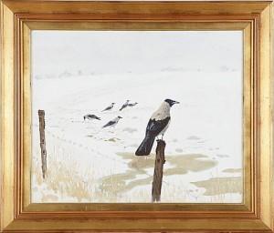 Kråkor I Snölandskap by Harald WIBERG
