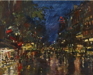 Boulevard Haussmann At Night by Konstantin Alexeievich KOROVIN