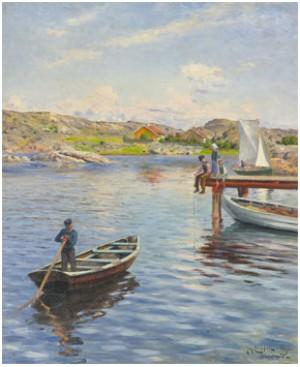 Kustlandskap Med Metande Barn by Johan ERICSON