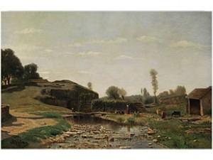Französische Hügellandschaft Mit Figuren, Kühen Und Federvieh by Adolphe APPIAN