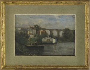 Franskt Flodlandskap Med Akvedukt by Carl SKÅNBERG
