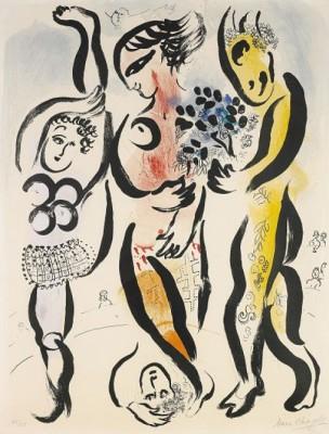 Les Trois Acrobates, (lit:mourlot 169) by Marc CHAGALL
