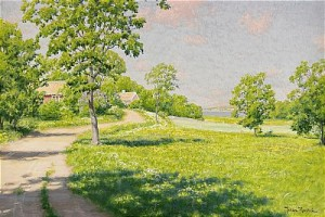 Sommarlandskap Med Stugor by Johan KROUTHÉN