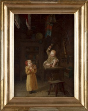 Interiörbild Med Två Små Barn by August MALMSTRÖM