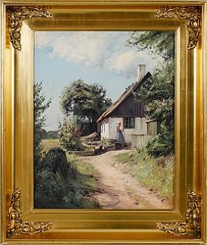 Landskapsbild Med Hus Och Kvinna by Niels WALSETH