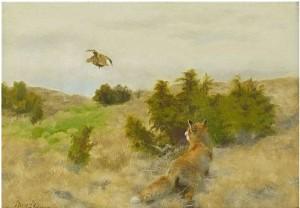Landskap Med Jagande Räv by Bruno LILJEFORS