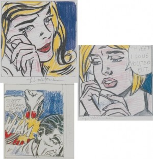 Three Hand Signed Offset Color Images by Roy LICHTENSTEIN