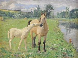 Sommarlandskap Med Hästar by Carl TRÄGÅRDH