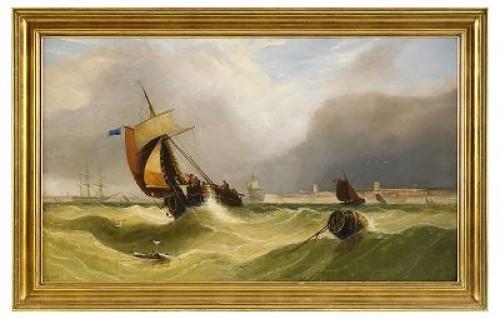 Segelbåtar På Stormigt Hav by John CALLOW