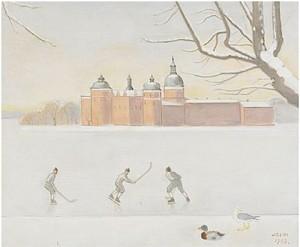 Bandyspelare Vid Gripsholms Slott by Einar JOLIN