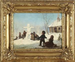 Barn Och Snögubbe by Axel Gillis HAFSTRÖM