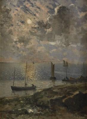 Bretagniska Fiskebåtar I Månsken by Johan ERICSON