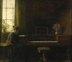 Interiör Med Sittande Kvinna Vid Pianot by Carl HOLSÖE