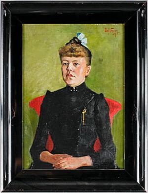 Porträtt Av Esther Wallerstedt by Olof SAGER-NELSON
