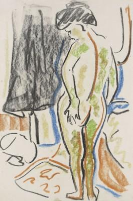 Stehender Weiblicher Akt by Ernst Ludwig KIRCHNER